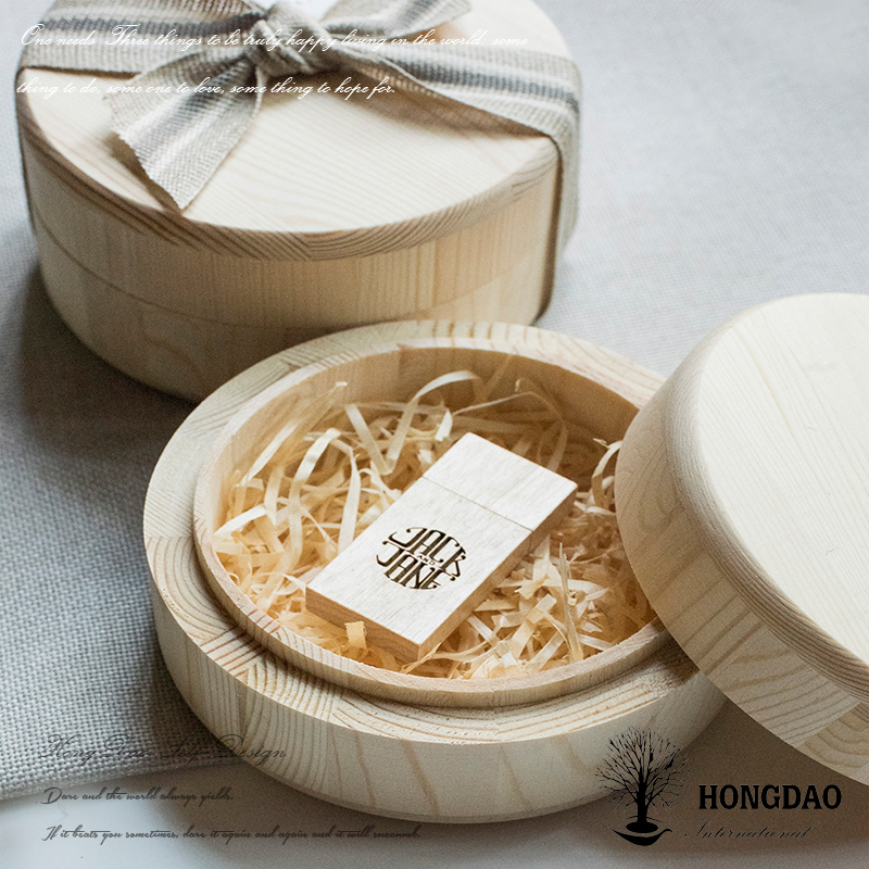 HONGDAO custom natural wedding gift wooden USB flash drive with box wooden usb memory stick