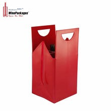 WinePackages Red Color Luxury Fancy PU leather wine bag carrier for 4 bottles