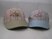 children striped 6 panel embroidered cotton baseball cap