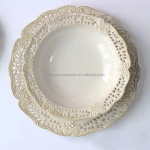 Chaozhou Ceramic Factory Directly Ready Stock Ceramic Emboss Dinnerware Porcelain Cup&Saucer Dinner Ware Plate
