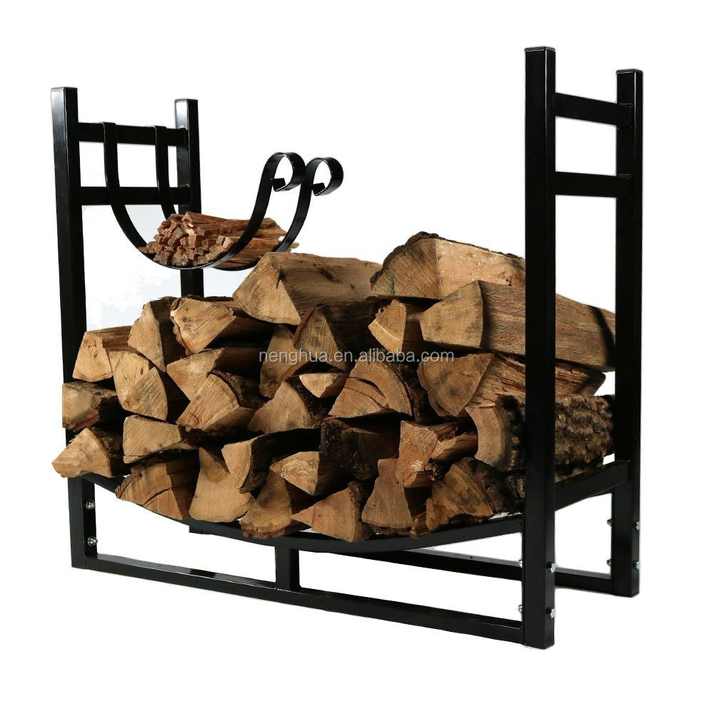 Firewood Log Rack with Kindling Holder, 33 Inch Wide x 30 Inch Tall