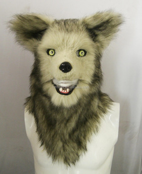 Animal Furry Head Mask - Mister Grey Wolf (Top 1)