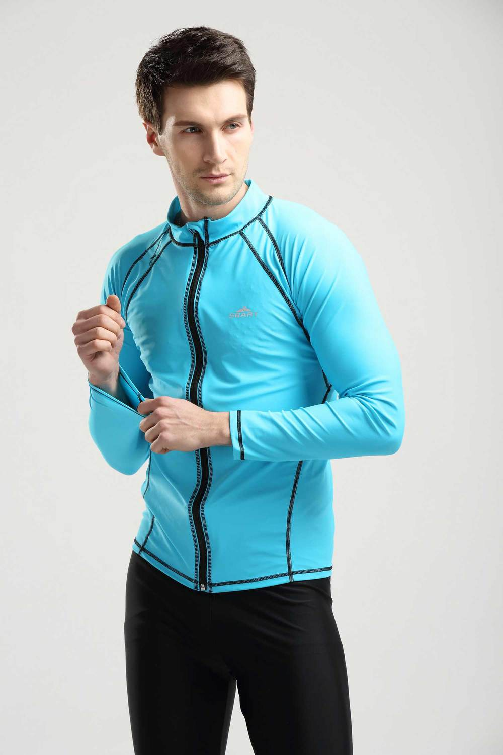 Sbart mens sun protection front zip clothing diving for Custom sun protection shirts