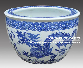 Big chinease blue and white ceramic dragon planters pots