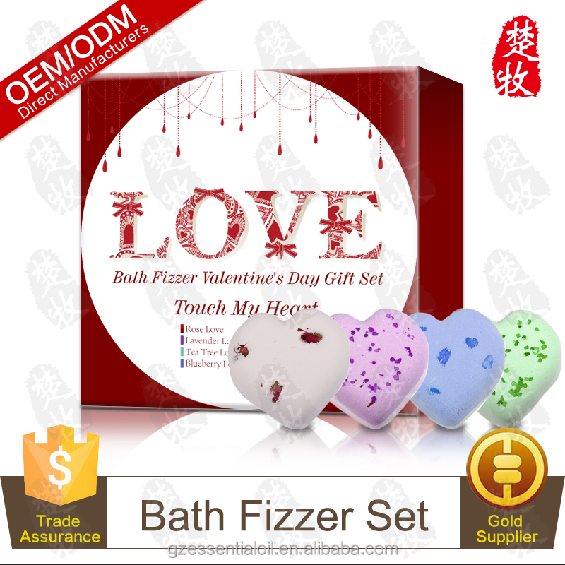 Romantic Heart Bath Fizzer With Petals For Valentine's Day , Lavender / Rose / Tea tree / Blueberry