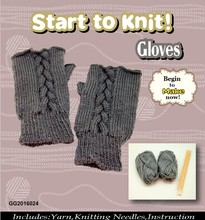 2017 fashion grey gloves knitting diy kit