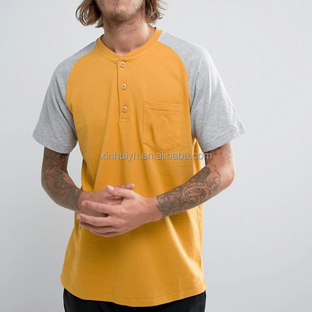 Men'S Oem Plain Blank Two Color Combination Yellow Brand Latest Design Collar Pocket Raglan T Shirt With 1/4 Buttons