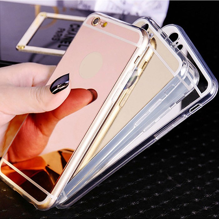 Hot sale mobile case with mirror tpu pc electroplating back cover mirror phone case for iphone 6 6s