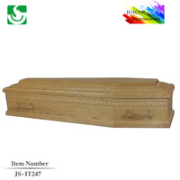 Well carving cheap solid wooden quality product JS-IT247 coffins economic