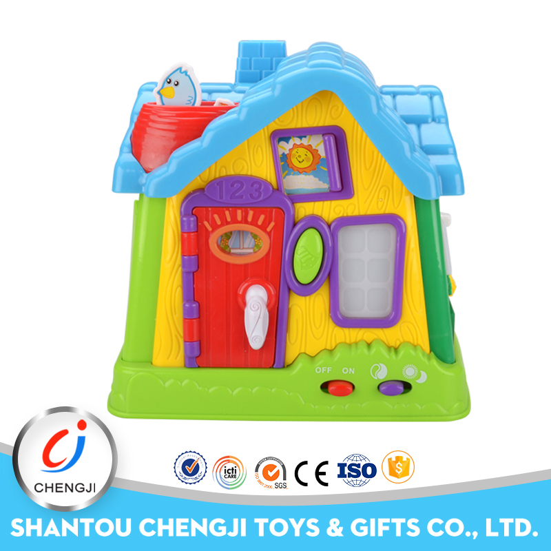 Creative gifts baby plastic b/o learning musical my happy family house toy