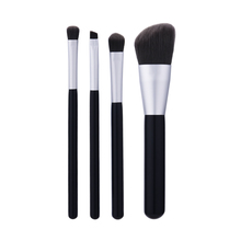 4 PCS Silver black brown hair makeup <strong>brush</strong> makeup kit private label makeup <strong>brush</strong>