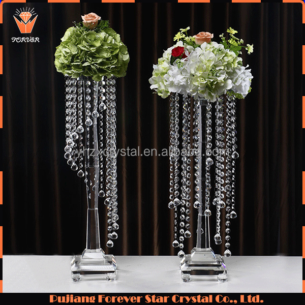 2 Styles Chosen! Luxury Wedding Table Centerpieces Hanging Crystals Flowers Stand