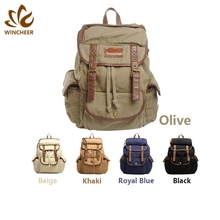 Wholesale hot sell custom mens vintage canvas travelling hiking camping military bags duffel rucksack backpack with high quality