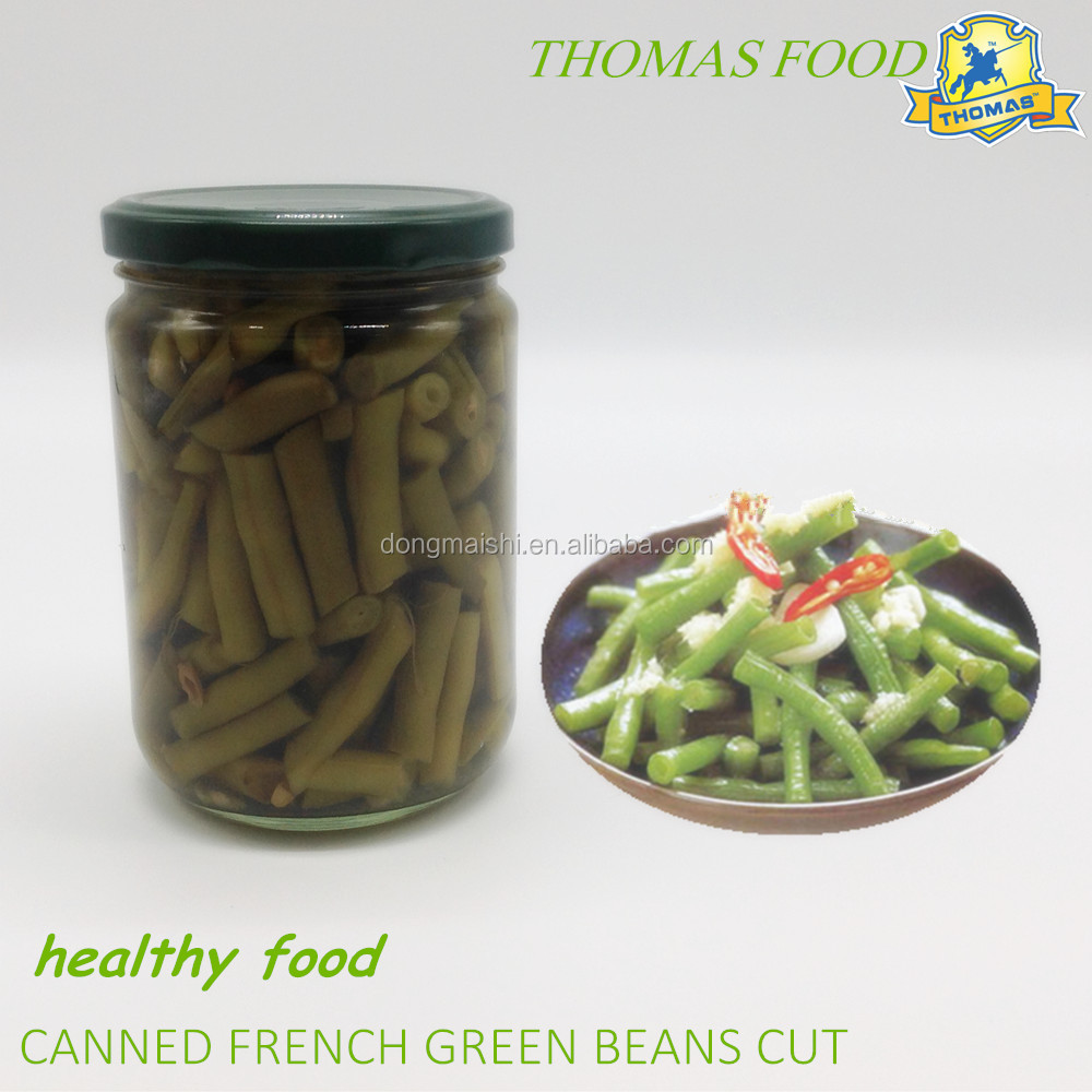China food canned food french green bean cut in glass jar
