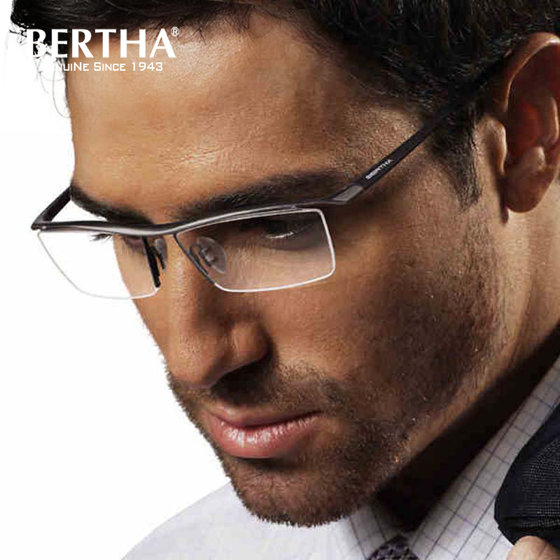 a3f41421f4 Bertha Men Pure Titanium Semi-rimless eyeglass frame Prescription Eyeglasses  Business Optical Glasses