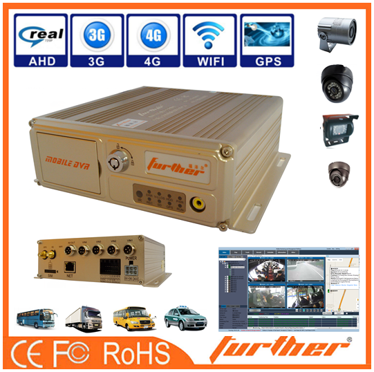 3G 4 Channel FHD 1080p 2 battery vehicle mobile dvr kits, with admin password reset
