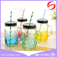 wholesale 16 OZ glass mason jar mug with handle colored drinking glass jar