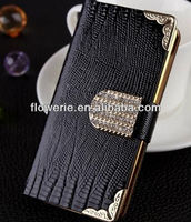 FL2195 2013 Guangzhou hot selling glitter crocodile diamond wallet leather case with credit card slot for iphone 5 5G