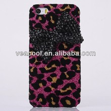 Leopard Bow Glitter Bling Shining Hard Back Case For iPhone 5 5G 5S Case
