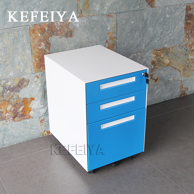 Office Project Use 3 Drawer Metal Mobile Pedestal/Movable Steel File Cabinet Pedestal Storage Unit Metal Mobile Pedestal Cabinet
