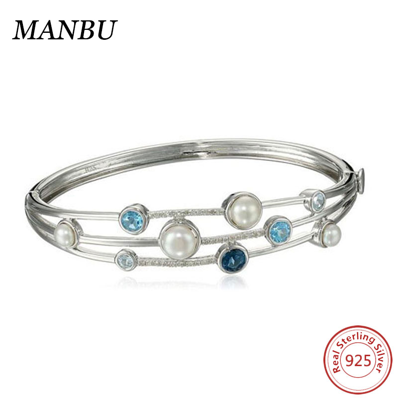 Sterling Silver Cluster Freshwater Cultured Pearl and Blue Topaz Diamond Bangle Bracelet