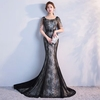 2018 Latest Elegant Fashion Backless Party Best Long Lace Evening Dress Sexy Mermaid Train Evening Dress Women