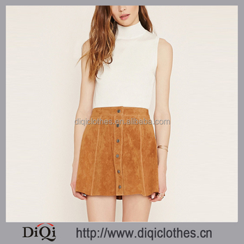 Stylish Wholesale Price Summer Buttoned Front Brown Suede Leather Skater Skirt