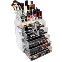 Large Stackable Acrylic Cosmetic Makeup Organizer with Drawers, Customized Acrylic Makeup Cosmetic Box