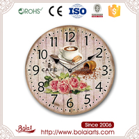 Pink flowers and coffee design silence homely wooden home decor clock