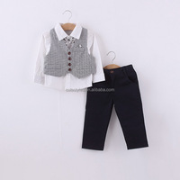 Fashionable Style Waistcoat With Bow White Long Pants Boy Formal Costume 2015 Summer Children Clothing Set CS80806-29