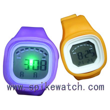 Colorful wrist watches with flash light rubber jelly ion sports bracelet wrist watch
