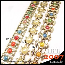 wholesale new style decorative plastic pearl ceramics crystal applique rhinestone lace chain trimming
