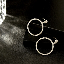 Wholesale fashion 925 silver large circle brass diamond beaded big hoop earrings