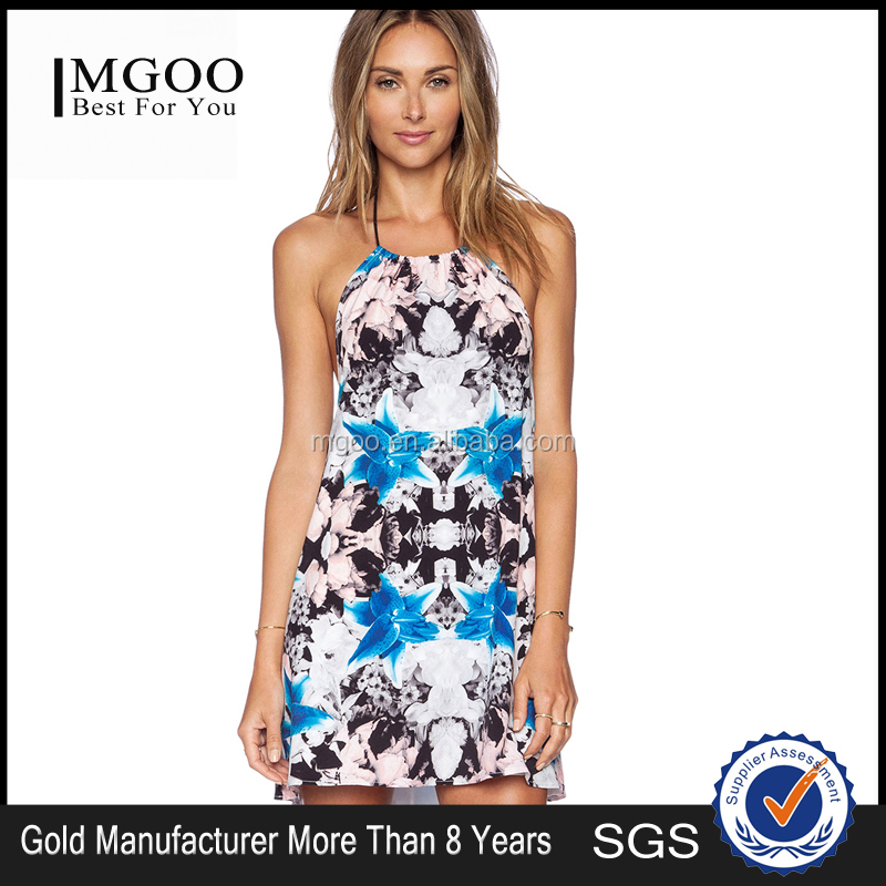 MGOO High Quality Vivid Sublimation Women halter Latin Dresses Floral Overall Pencil Fashion 2015 Dress 15151A245