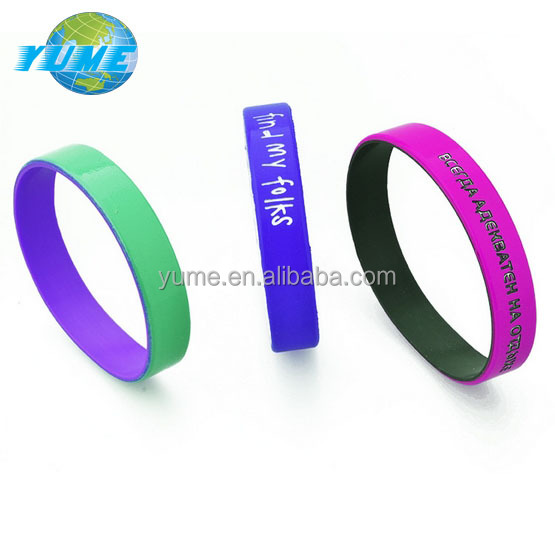 Yiwu Fashion Custom Embossed Dual Silicone wristbands Cheap