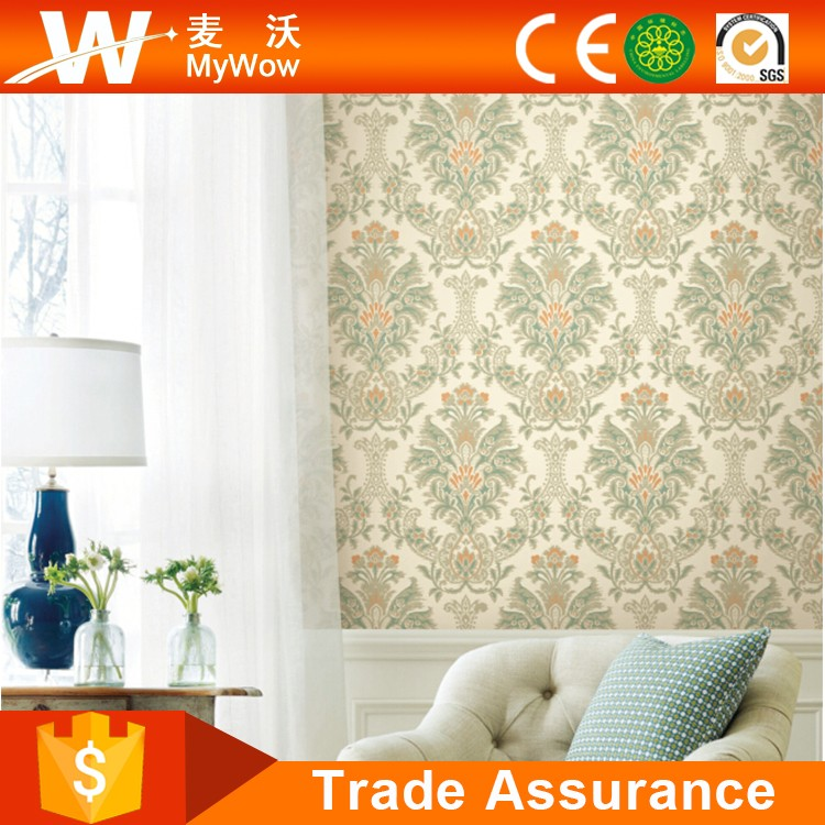 Velvet Surface - Non Woven Back Damask Floral Wall Paper with High Grade