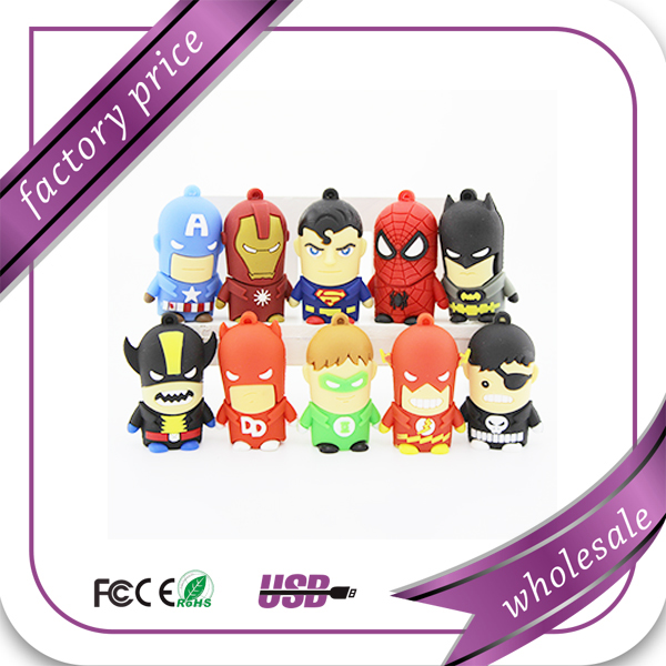 Cheap promotional items usb,cartoon superhero pen drive usb stick