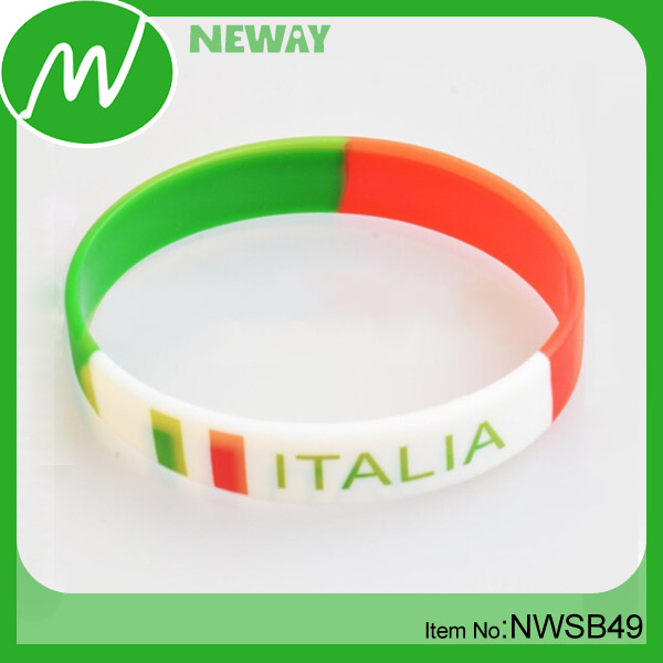 OEM Name Rubber Band Italy Flag Bracelet Factory