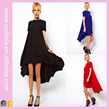 Wholesale Cheap Women Plus Size Front Short Back Long Chiffon Dress
