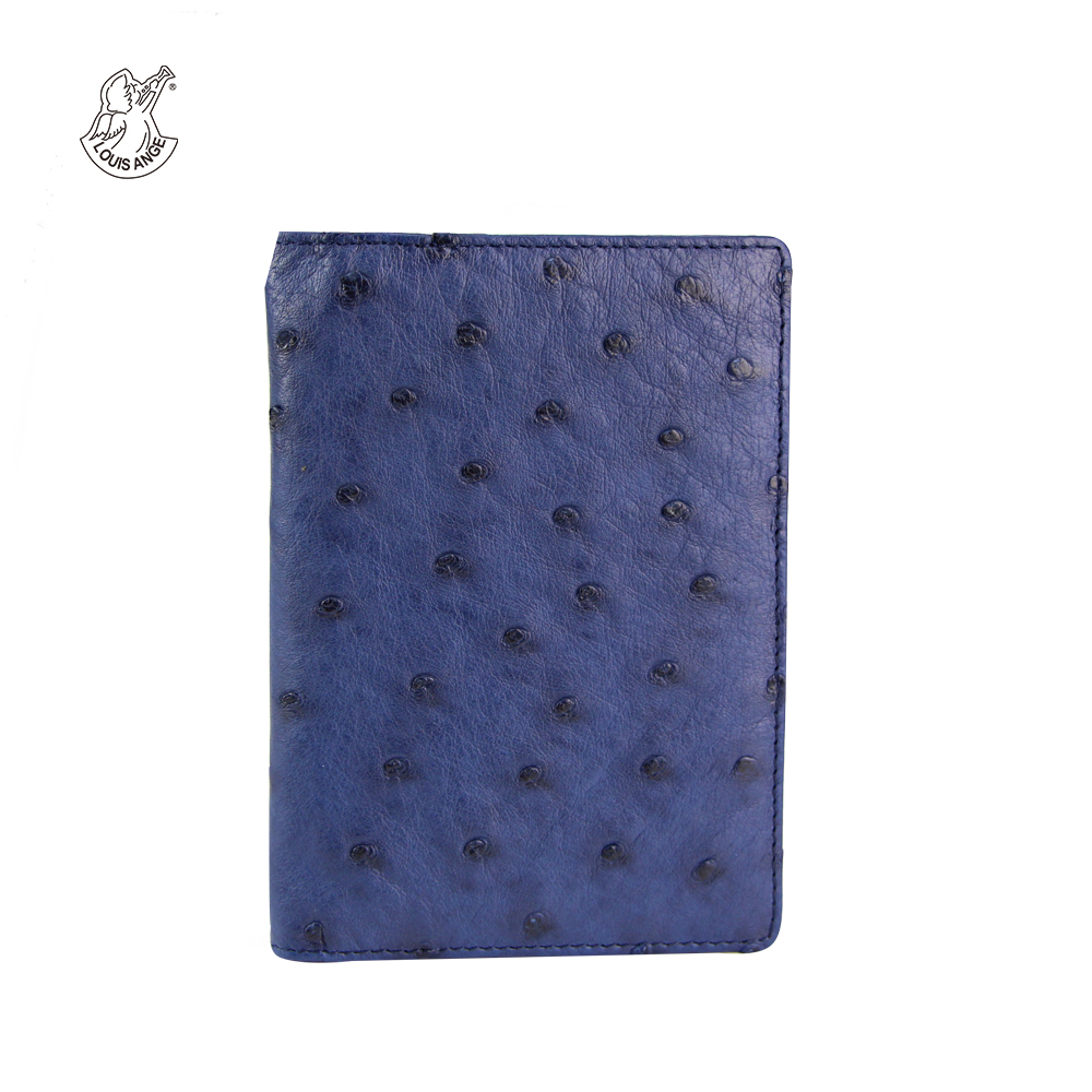 Louis Ange Genuine Ostrich Leather Business Card Case Bifold Credit Card Holder Case