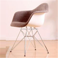 armrest fabric cover plastic living room leisure chairs with chromed legs