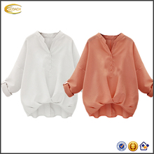 Ecoach Wholesale fashion design lady blouse Solid long sleeves v neck simple blouse 2016 100 cotton blouse with buttons front