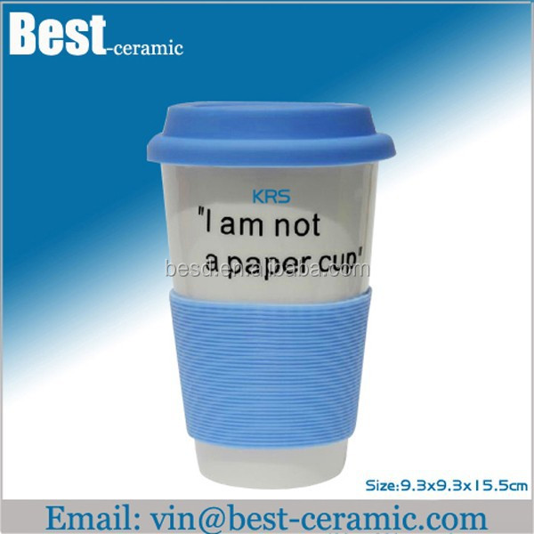 white double wall ceramic coffee tumbler with silicone lid