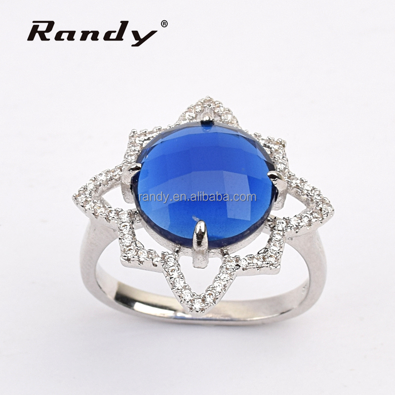 Fashion Jewelry 2016 Rings Flower Blue Glass Stone Dress Accessories