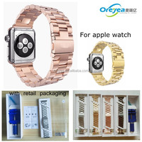 Solid Stainless Steel Metal Watch Strap For Apple Watch Band Rose gold