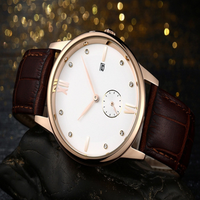 316L Stainless Steel Case Sapphire Crystal Quartz Movement Small Dial Second Hand 100% Genuine Leather Style Vogue Watch