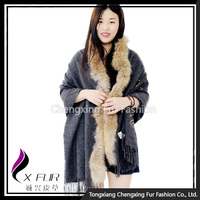 CX-B-P-65 Fashion Women Raccoon Fur Trim Cashmere Scarf Shawl