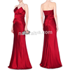 Hot sale Red Strapless Silk-Satin Bow Gown Fashion Girl Party sexy Long Evening Dress