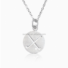 Silver Color Stainless Steel Matte Field Hockey Crossed Sticks Necklace