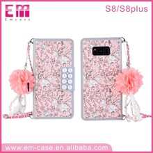 Cell Phone Accessories Bling Rhinestone Mobile Phone Diamond Case for GalaxyS8/S8 PlusFlip Wallet Cover